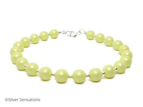 Pastel Lemon Yellow Swarovski Pearls & Sterling Silver Bridesmaids Bracelet